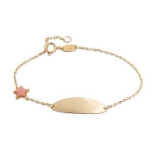 Pulseira de ouro em forma de chapa com detalhe de estrela com esmalte rosa