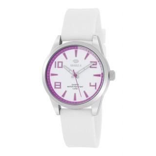 Reloj Marea B21189/3 para mujer con correa de silicona blanca y esfera blanca/lila, 5 ATM
