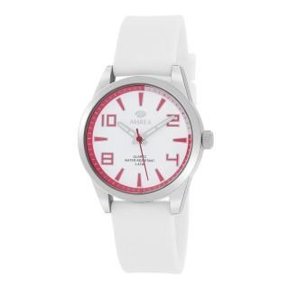 Reloj Marea B21189/4 para mujer con correa de silicona blanca y esfera blanca/roja, 5 ATM