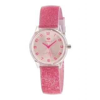 Relógio Marea B35314/4 para mulher com pulseira de silicone rosa com purpurina, 5 ATM