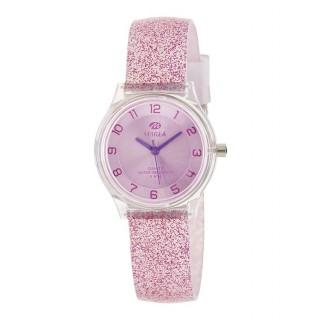 Reloj Marea B35314/5 para mujer con correa de silicona lila con purpurina, 5 ATM