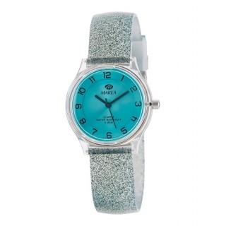 Reloj Marea B35314/7 para mujer con correa de silicona verde con purpurina, 5 ATM