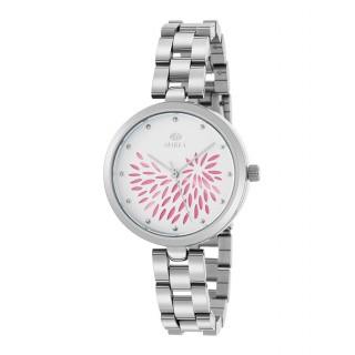 Relógio Marea B41243/3 para mulher com pulseira de aço e mostrador branco/rosa, 3 ATM