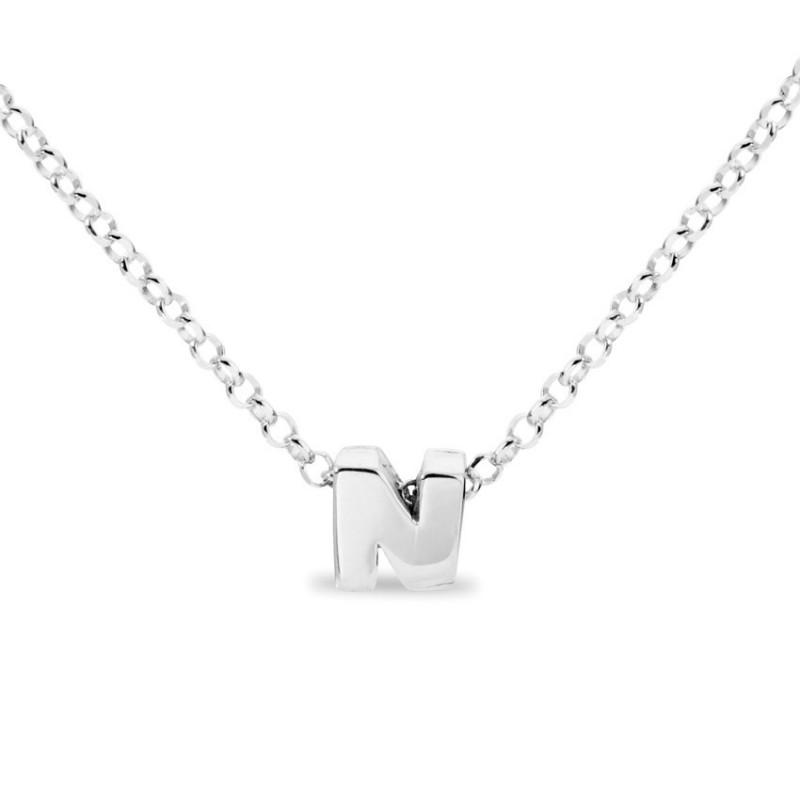 Collar de plata rodiada en forma de la letra N, 42 cm
