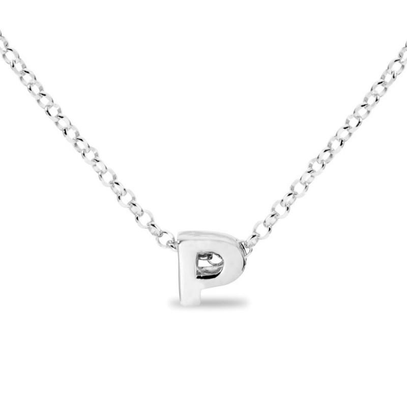 Collar de plata rodiada en forma de la letra P, 42 cm