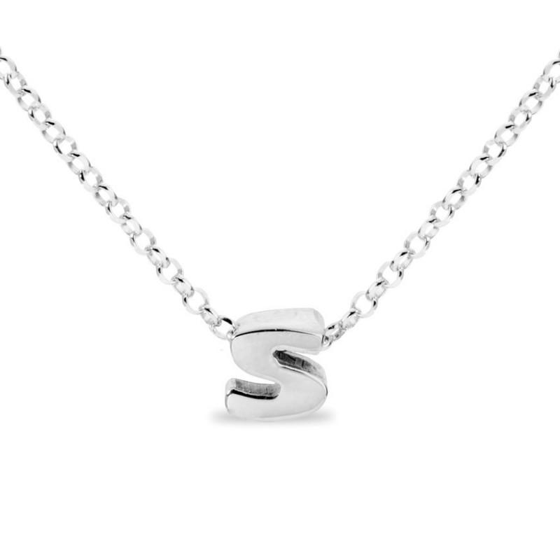 Collar de plata rodiada en forma de la letra S, 42 cm