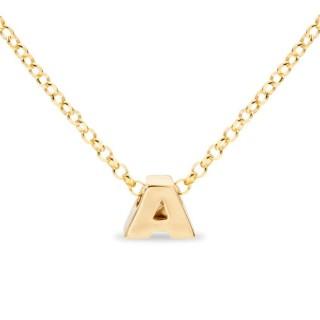 Colar de prata chapada em ouro em forma da letra A, 42 cm