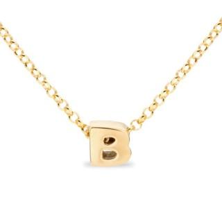 Collar de plata chapada en oro en forma de la letra B, 42 cm