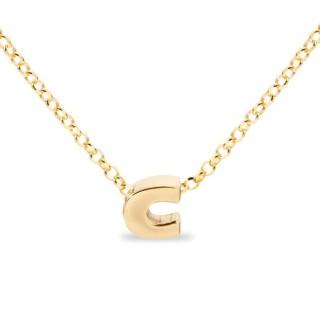 Colar de prata chapada em ouro em forma da letra C, 42 cm