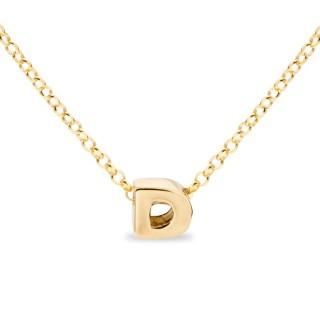 Colar de prata chapada em ouro em forma da letra D, 42 cm