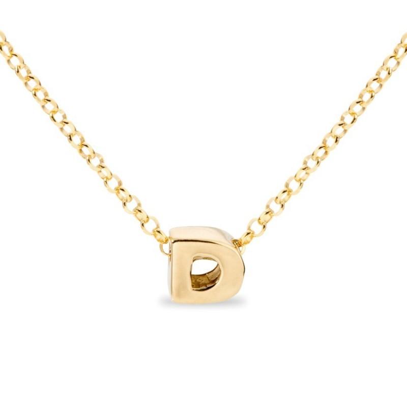 Collar de plata chapada en oro en forma de la letra D, 42 cm