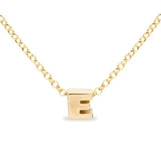 Colar de prata chapada em ouro em forma da letra E, 42 cm