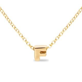Colar de prata chapada em ouro em forma da letra F, 42 cm