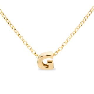 Colar de prata chapada em ouro em forma da letra G, 42 cm