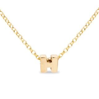 Colar de prata chapada em ouro em forma da letra H, 42 cm
