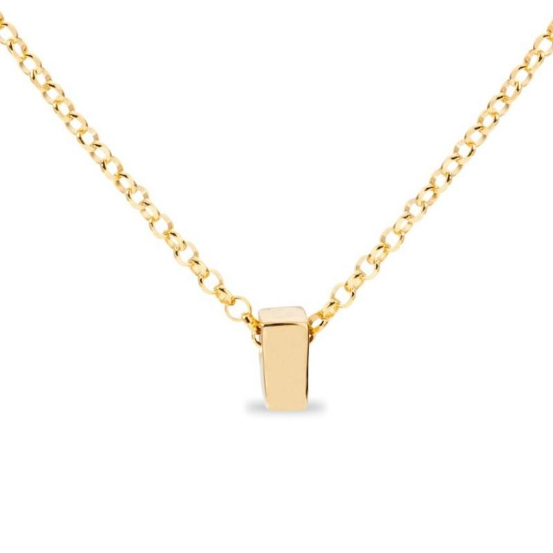 Collar de plata chapada en oro en forma de la letra I, 42 cm
