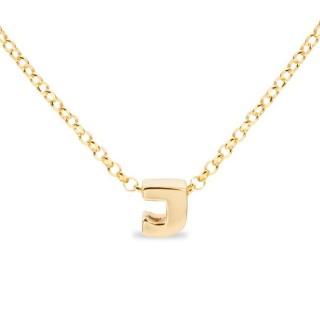 Colar de prata chapada em ouro em forma da letra J, 42 cm