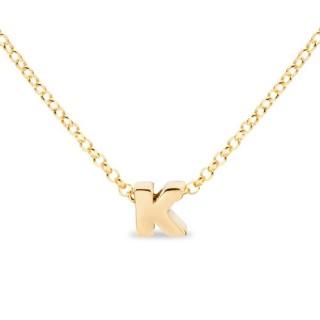 Collar de plata chapada en oro en forma de la letra K, 42 cm
