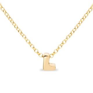 Colar de prata chapada em ouro em forma da letra L, 42 cm