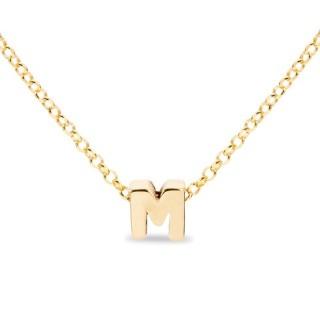 Colar de prata chapada em ouro em forma da letra M, 42 cm