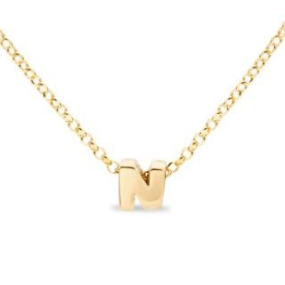 Colar de prata chapada em ouro em forma da letra N, 42 cm