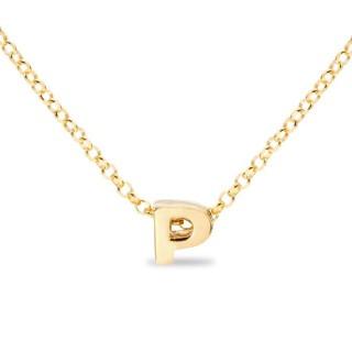 Colar de prata chapada em ouro em forma da letra P, 42 cm