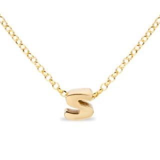 Colar de prata chapada em ouro em forma da letra S, 42 cm
