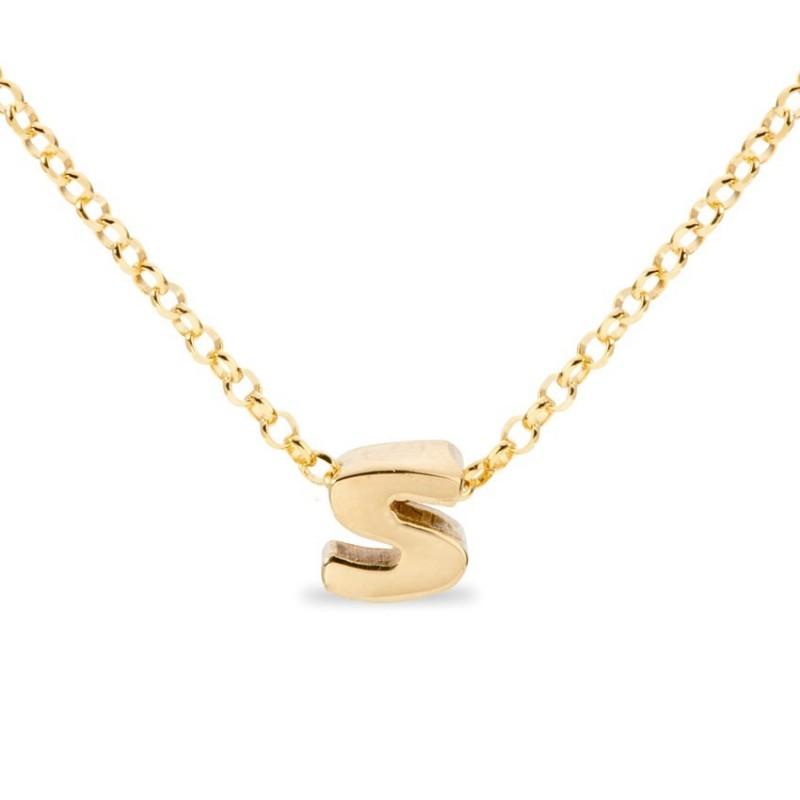 Collar de plata chapada en oro en forma de la letra S, 42 cm