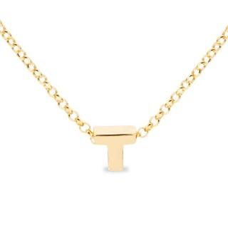 Colar de prata chapada em ouro em forma da letra T, 42 cm