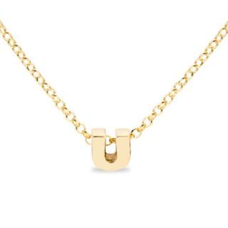 Collar de plata chapada en oro en forma de la letra U, 42 cm