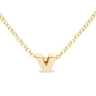 Collar de plata chapada en oro en forma de la letra V, 42 cm