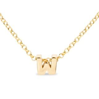 Colar de prata chapada em ouro em forma da letra W, 42 cm