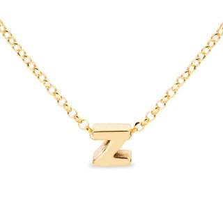 Colar de prata chapada em ouro em forma da letra Z, 42 cm