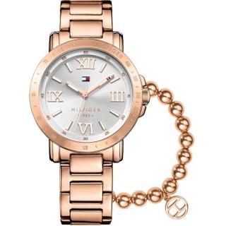 Conjunto Tommy Hilfiger Women's Holiday 2770005 para mulher de relógio e pulseira rose gold