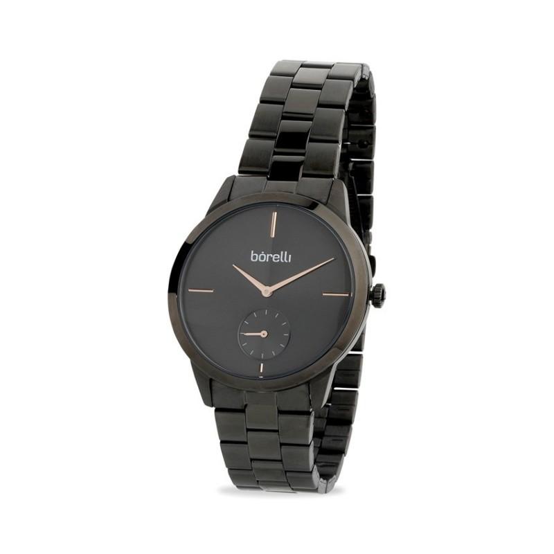 Relógio Borelli 03K89FB06-C para mulher com pulseira de aço cinza e mostrador cinza/rosa