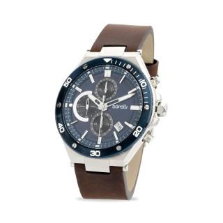 Reloj Borelli 03L99GL01-A para hombre con correa de cuero marrón y esfera azul