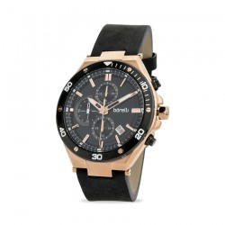 Reloj Borelli 03L99GL01-B para hombre con correa de cuero negro y esfera negra/rosa