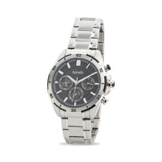 Relógio Borelli 03L96GB01-A multifuncional para homem com pulseira de aço e mostrador preto