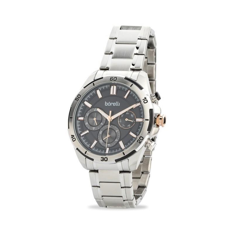 Relógio Borelli 03L96GB01-B multifuncional para homem com pulseira de aço e mostrador preto