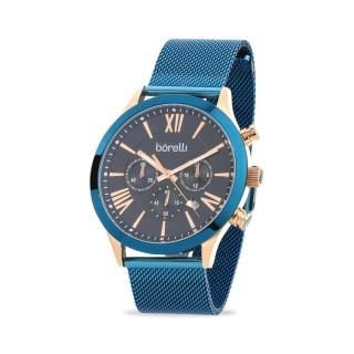 Reloj Borelli C3389SGH-B para hombre con correa milanesa azul y esfera azul/rosa