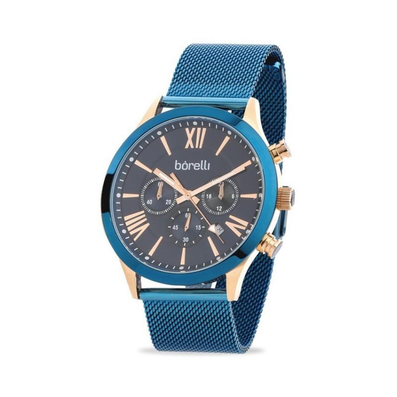 Relógio Borelli C3389SGH-B para homem com pulseira milanesa azul e mostrador azul/rosa