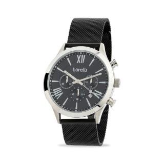 Reloj Borelli C3389SGH-A para hombre con correa milanesa negra y esfera negra
