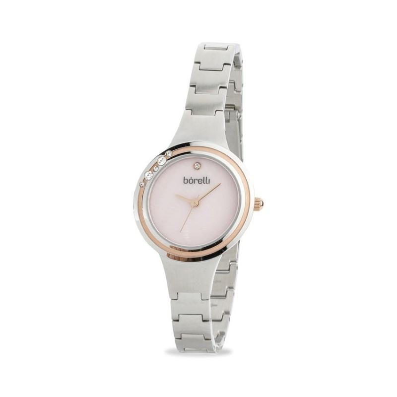 Relógio Borelli C3553SLXPOSC1 para mulher com pulseira de aço e mostrador rosa