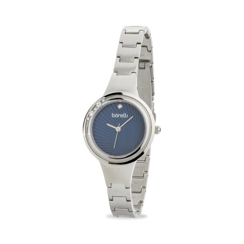 Relógio Borelli C3553SLXCLOSC1 para mulher com pulseira de aço e mostrador azul
