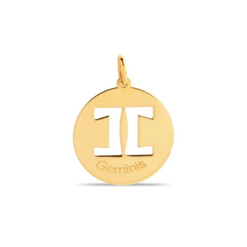 Colgante de oro 9 KT símbolo del signo géminis