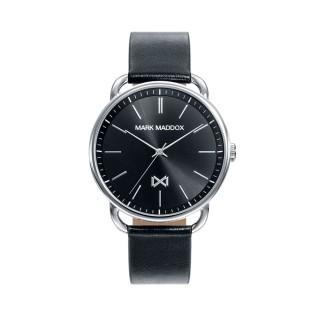 Reloj Mark Maddox Midtown HC7118-57 para hombre con correa de piel negra y esfera negra, 5 ATM