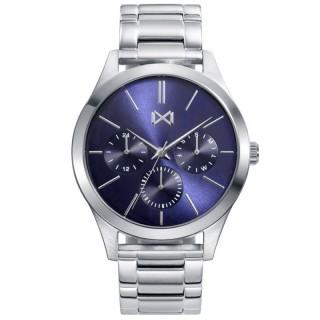 Relógio Mark Maddox HC7123-37 multifuncional para homem com pulseira de silicone cinza e mostrador azul, 3 ATM