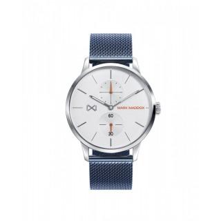 Relógio Mark Maddox HM2003-17 multifuncional com pulseira de aço azul e mostrador cinza, 3 ATM