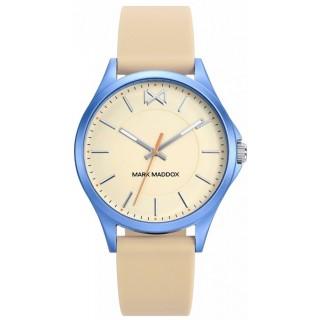 Reloj Mark Maddox MC7113-27 para mujer con correa de silicona beige y esfera beige, 5 ATM
