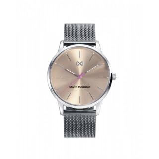 Relógio Mark Maddox MM2003-77 para mulher com pulseira de aço cinza e mostrador rosa, 3 ATM